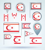 Collection Flag of Northern Cyprus, vector illustration Stock Images
