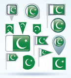 Collection Flag of Pakistan, vector illustration Royalty Free Stock Image