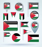 Collection Flag of Palestine, vector illustration Stock Photo