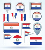 Collection Flag of Paraguay, vector illustration Royalty Free Stock Photo