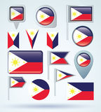 Collection Flag of philippines, vector illustration Stock Images