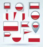 Collection Flag of Poland, vector illustration Royalty Free Stock Photos