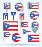 Collection Flag of Puerto rico, vector illustration. Stock Photography