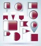 Collection  Flag of Qatar, vector illustration Stock Photo