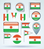 Collection Flag of Republic of niger, vector illustration Stock Photos