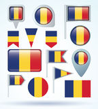 Collection Flag of Romania, vector illustration. Stock Photography