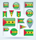 Collection Flag of Sao Tome and Principe, vector illustration Royalty Free Stock Photos