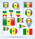 Collection Flag of Senegal, vector illustration Royalty Free Stock Images