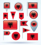 Collection Flag set of Albania, vector illustration Royalty Free Stock Photos