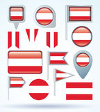 Collection Flag set of Austria, vector illustration Stock Image