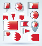 Collection Flag set of  Bahrain, vector illustration Royalty Free Stock Photo