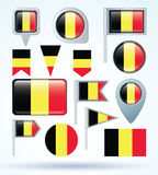 Collection Flag set of Belgium, vector illustration Royalty Free Stock Images