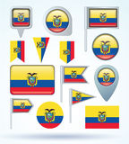 Collection Flag set of Ecuador, vector illustration Stock Images