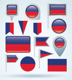 Collection Flag set of Haiti, vector illustration Royalty Free Stock Image