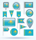 Collection Flag set of Kazakhstan, vector illustration Stock Images