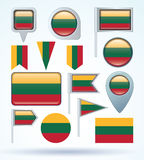 Collection  Flag set of Lithuania, vector illustration Stock Photos