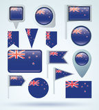 Collection Flag set of New Zealand, vector illustration Stock Images