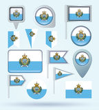 Collection Flag set of San Marino, vector illustration Stock Image