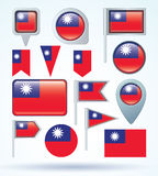 Collection  Flag set of Taiwan, vector illustration Royalty Free Stock Photo