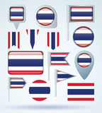 Collection Flag set of Thailand, vector illustration Stock Images