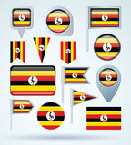 Collection Flag set of Uganda, vector illustration Royalty Free Stock Image