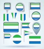 Collection Flag of Sierra Leone, vector illustration Royalty Free Stock Images