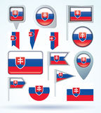 Collection Flag of Slovakia, vector illustration Stock Image