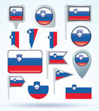 Collection Flag of Slovenia, vector illustration Royalty Free Stock Photos