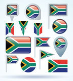 Collection Flag of South africa, vector illustration Stock Photos
