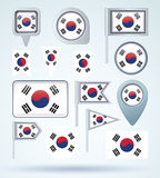 Collection Flag of South korea, vector illustration Stock Images