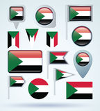 Collection Flag of Sudan, vector illustration Stock Images