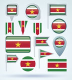 Collection Flag of Suriname, vector illustration Stock Photos