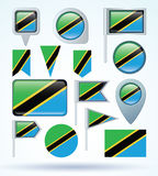 Collection Flag of Tanzania, vector illustration Stock Photos