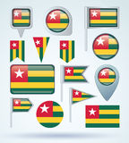 Collection Flag of Togo, vector illustration Stock Images