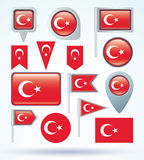 Collection Flag of Turkey, vector illustration. Stock Photos