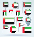 Collection Flag of United Arab Emirates, vector illustration Stock Photos