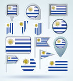 Collection Flag of Uruguay, vector illustration. Stock Photography
