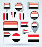 Collection Flag of Yemen, vector illustration Royalty Free Stock Photos