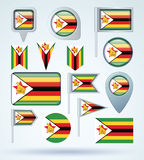Collection Flag of Zimbabwe, vector illustration Royalty Free Stock Photography