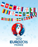 Collection of flags of countries. Participants of EURO 2016. Vec Stock Photography