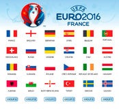Collection of flags of countries. Participants of EURO 2016. Vector Royalty Free Stock Images