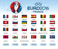 Collection of flags of countries. Participants of EURO 2016 Royalty Free Stock Photo