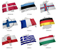 A collection of the flags covering the corresponding shapes from some european states Stock Image