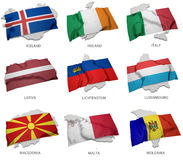 A collection of the flags covering the corresponding shapes from some european states Royalty Free Stock Images