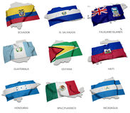 A collection of the flags covering the corresponding shapes from some south american states. The realistic flag of Ecuador, El Salvador, Falkland Islands Stock Images
