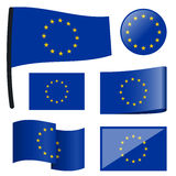 Collection flags European Union. Collection of different swung flags of European Union Royalty Free Stock Image
