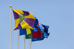 A collection of flags on the Funchal Royalty Free Stock Image