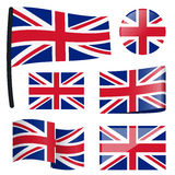 Collection flags Great Britain. Collection of different swung flags of country Great Britain Royalty Free Stock Photos