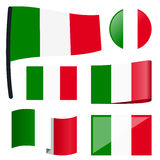 Collection flags Italy. Collection of different swung flags of country Italy Royalty Free Stock Photo