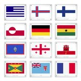 The Collection Flags on Metal Texture Plates Stock Photo
